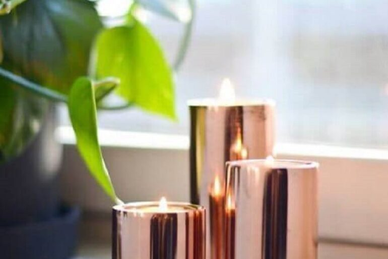 velas para decoração rose gold Foto Pinterest