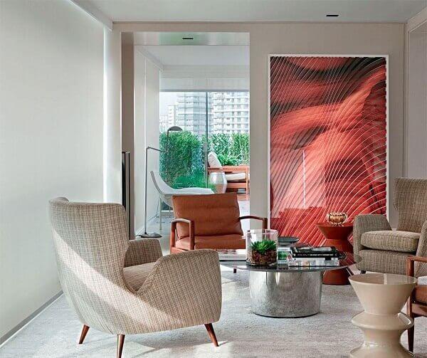 Cor palha na decoração de sala pequena