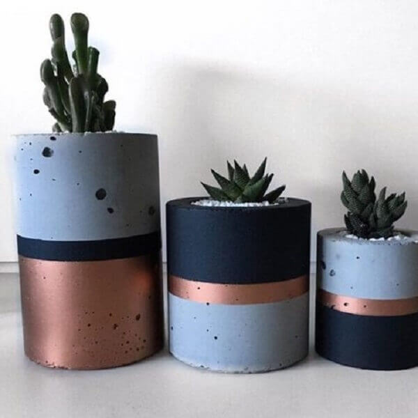Como fazer vaso de cimento colorido