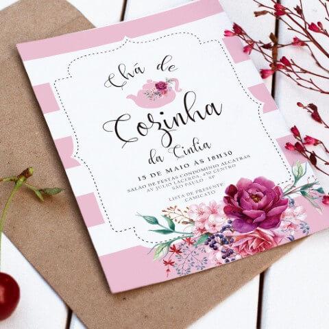 Convite para chá de panela com indicação de loja Foto de Festa de Casamento