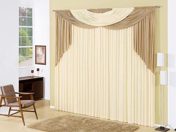 Cor palha em cortina de sala mercado livre