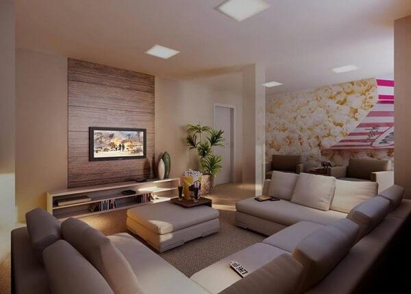 Cor palha na decoração de sala de estar