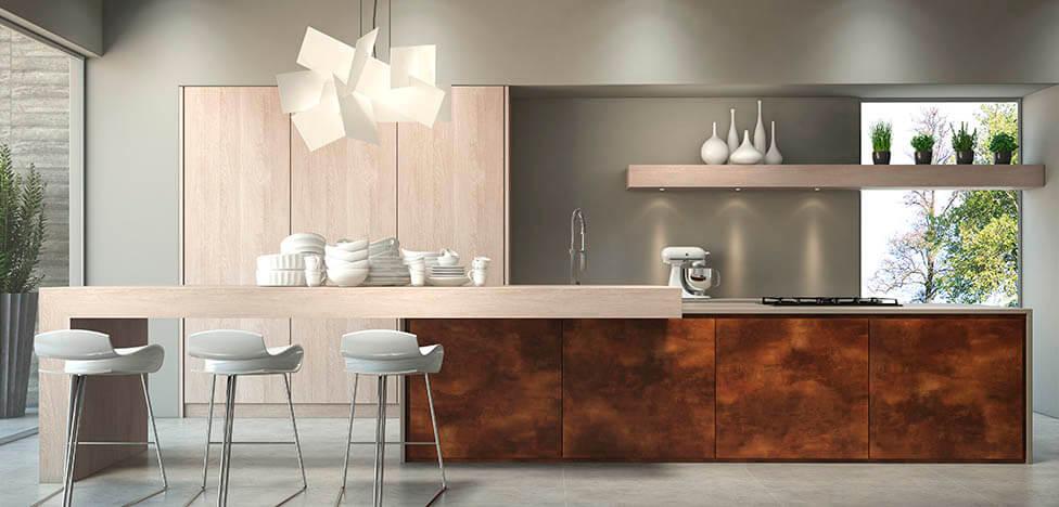 Cozinha integrada com móveis de madeira balcão e armário Foto de Duratex Madeira