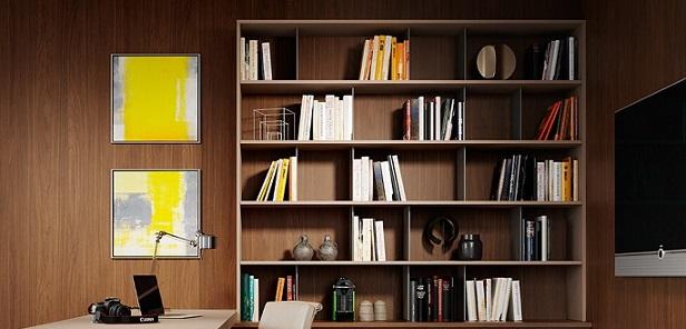 Escritório com móveis de madeira painel e estante Foto de Duratex Madeira