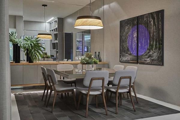lustre para sala de jantar complementa a decoração