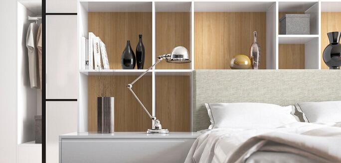 Móveis de madeira no quarto com divisórias de MDF Foto de Duratex Madeira