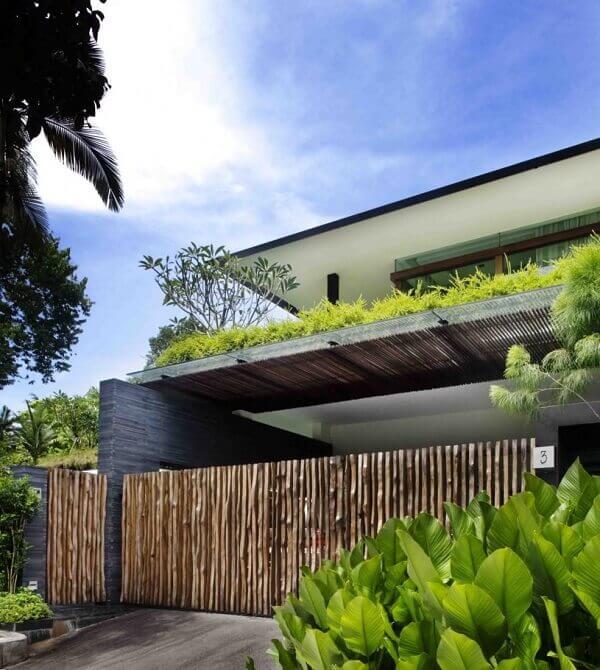 Muros modernos em bambu
