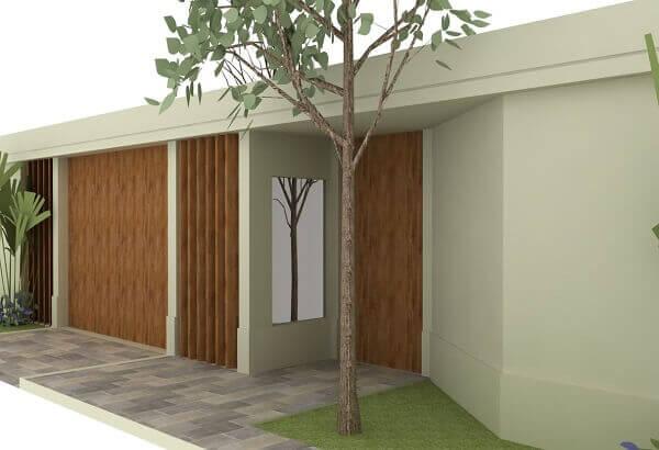 Muros modernos em casa com árvore