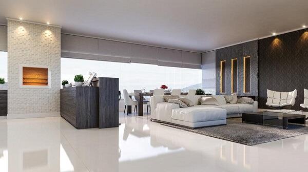O porcelanato retificado é ideal para ambientes modernos