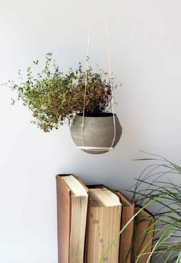 O vaso de cimento foi suspenso por fios de barbante no ambiente