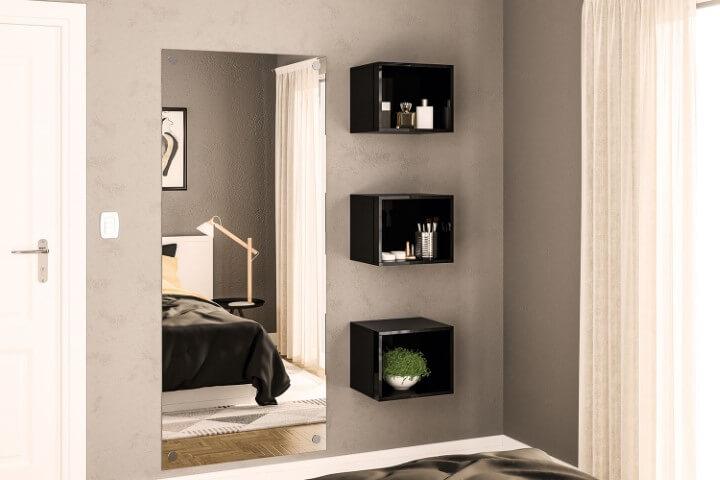 Parede cinza com nichos pretos Foto de Móveis Politorno