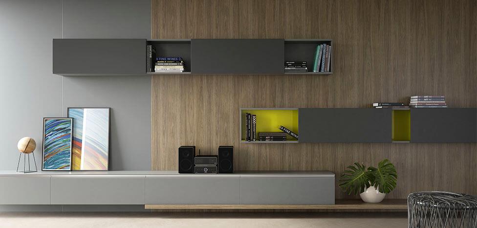Parede com móveis de madeira painel Foto de Duratex Madeira