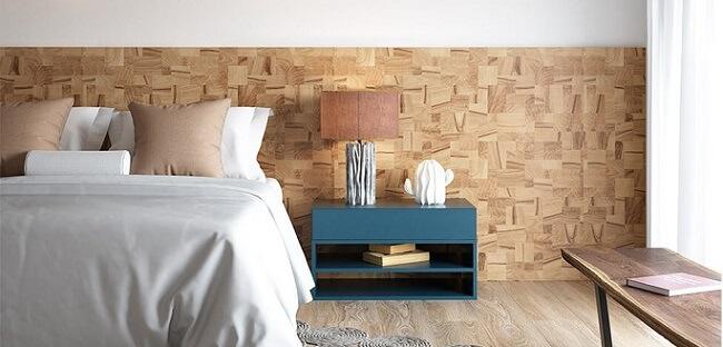 Quarto com móveis de madeira cabeceira Foto de Duratex Madeira