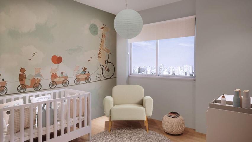 Quarto de bebê menino com papel de parede divertido com animais Projeto de Gabriela Hajale Marques