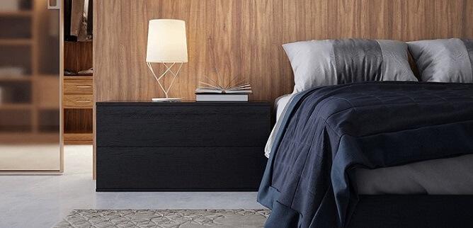 Quarto de casal com móveis de madeira painel Foto de Duratex Madeira