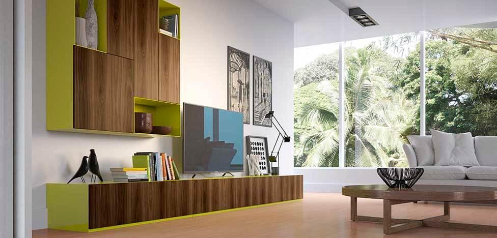 Sala de estar com móveis de madeira e cor chamativa Foto de Duratex Madeira