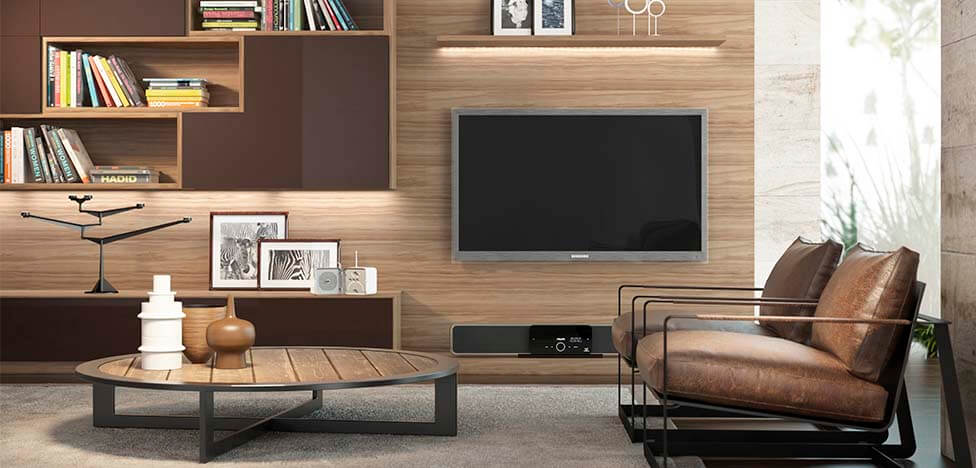 Sala de estar com móveis de madeira painel de TV Foto de Duratex Madeira