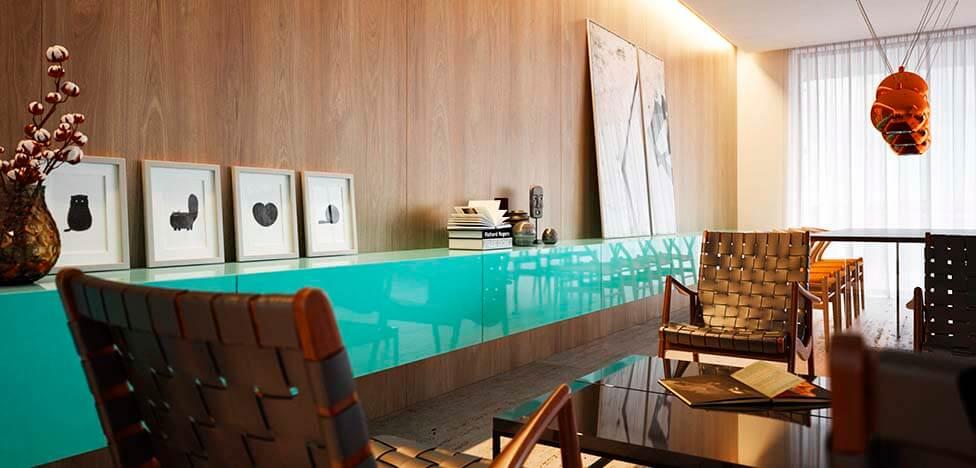 Sala integrada com móveis de madeira painel Foto de Duratex Madeira
