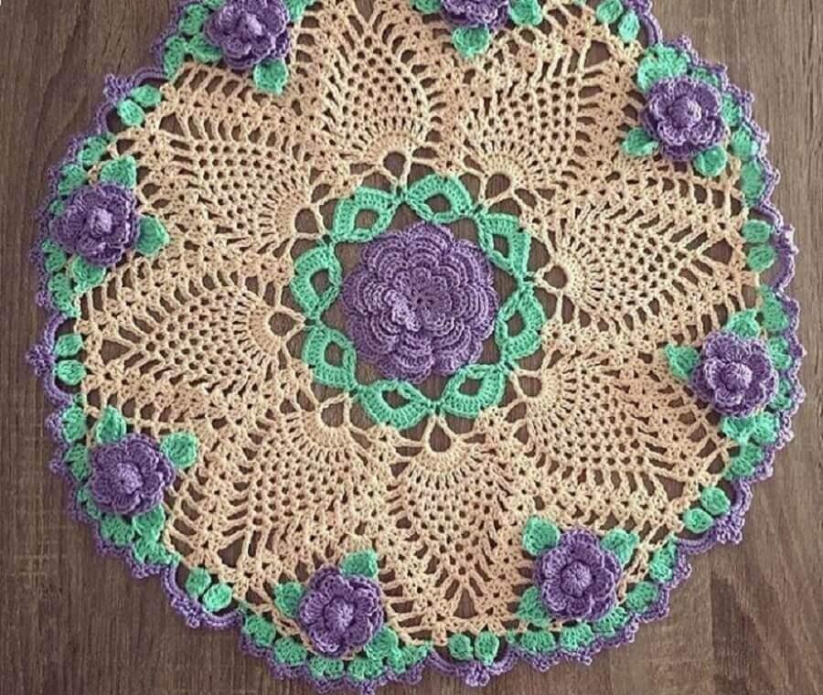 Tapete de crochê com flores redondo Foto Crochê na Prática