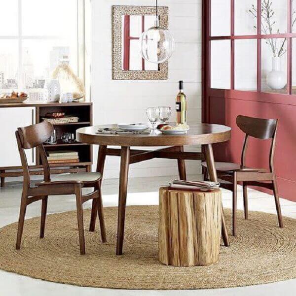 Tapetes para sala de jantar com espaço pequeno
