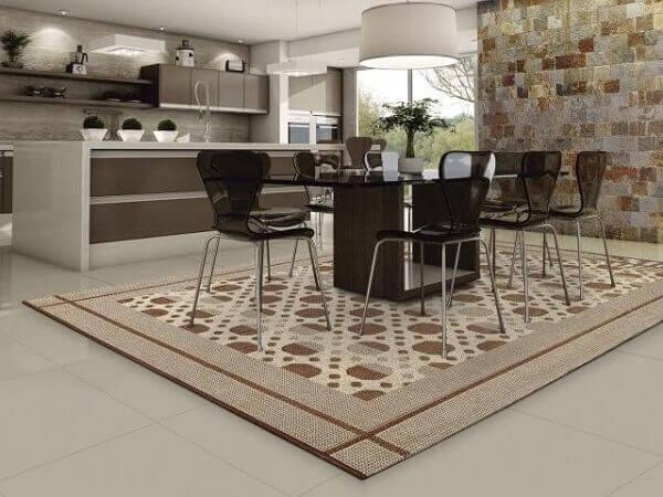 Tapetes para sala de jantar quadrado em tamanho grande