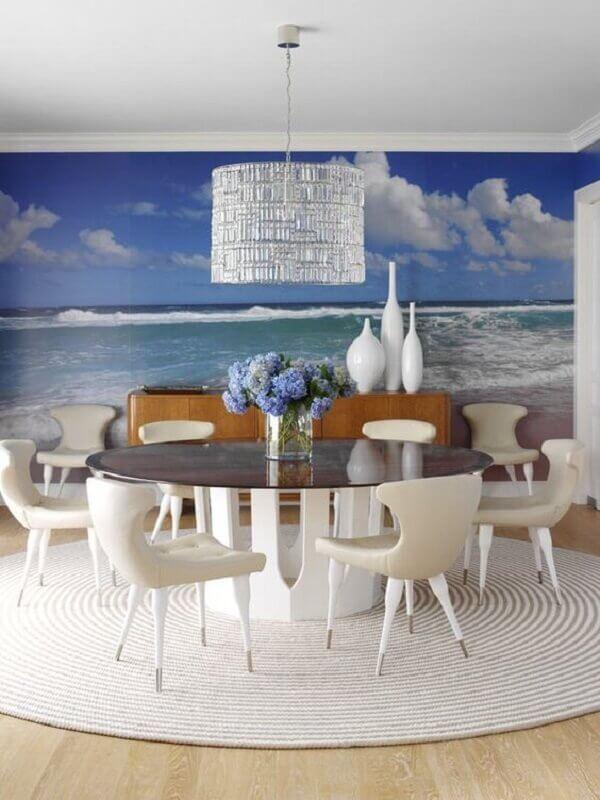 Tapetes para sala de jantar redondo na cor branca