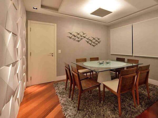 Tapetes para sala em jantar pequena