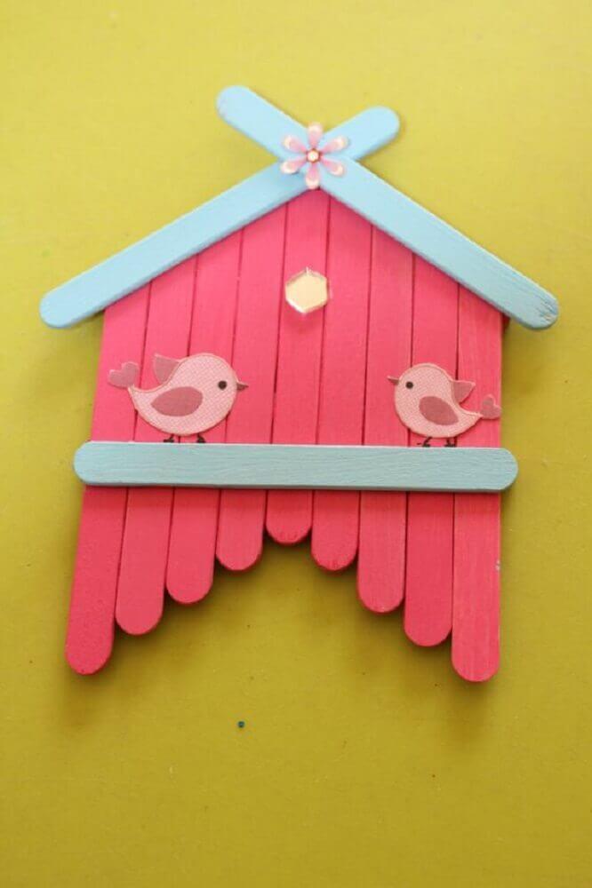 artesanato com palito de picolé - casinha decorativa de passarinho  Foto Pinterest