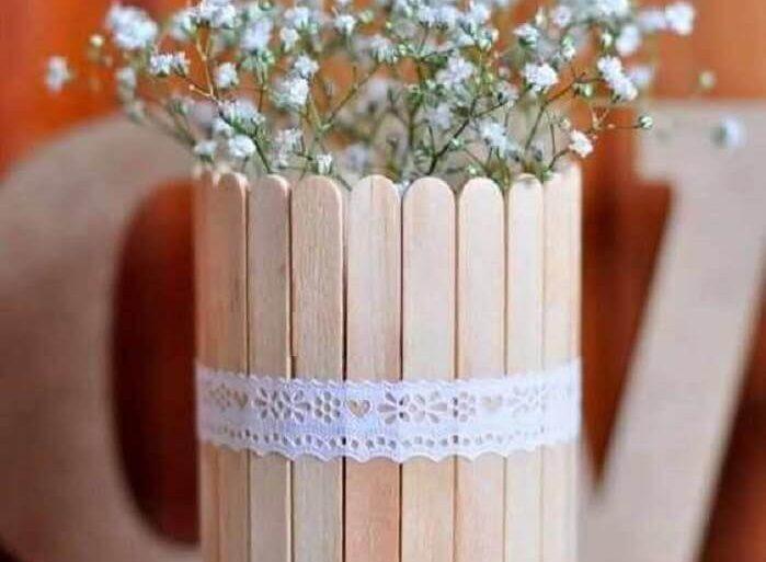 artesanato com palito de picolé para decoração de casamento Foto Neu dekoration stile