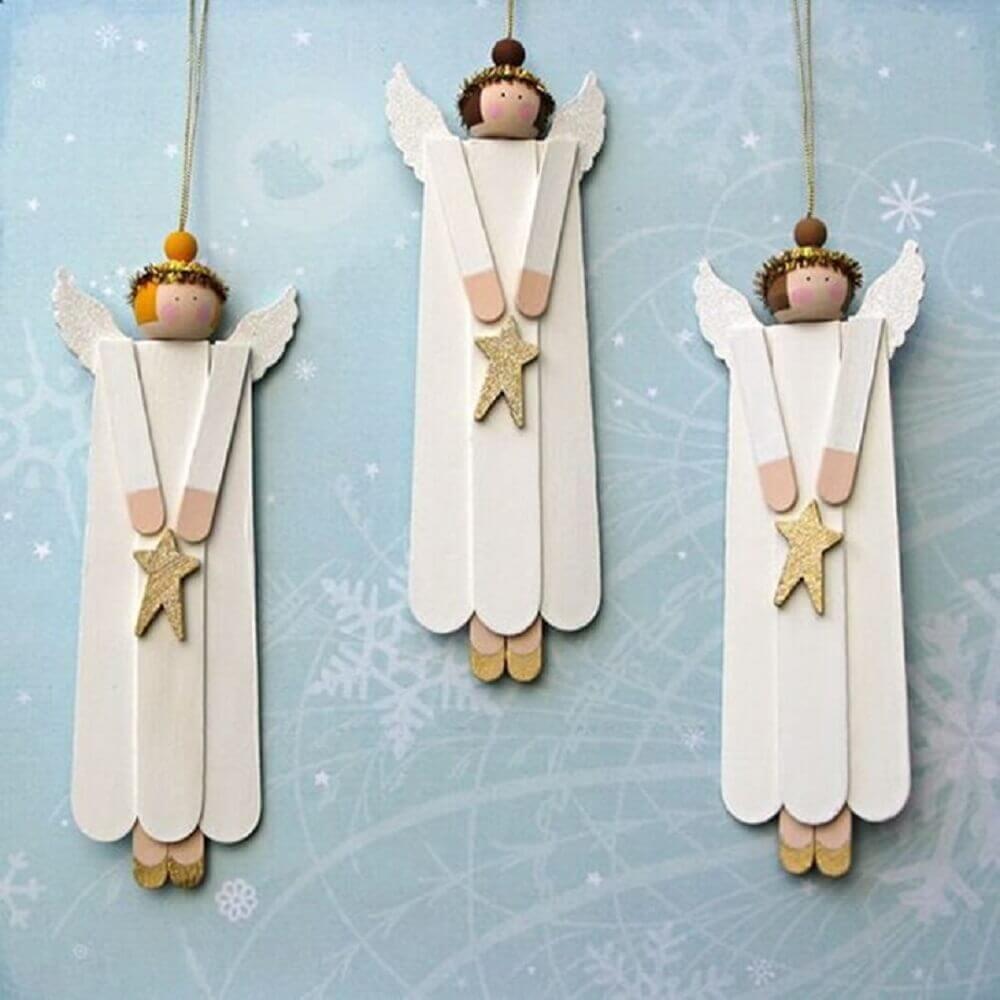 artesanato com palito de picolé para decoração de natal Foto Mari Marchezin Mantz