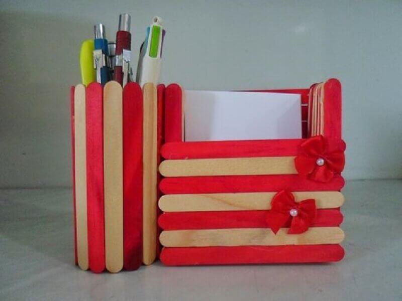 artesanato com palito de picolé para organização de home office Foto Pinterest