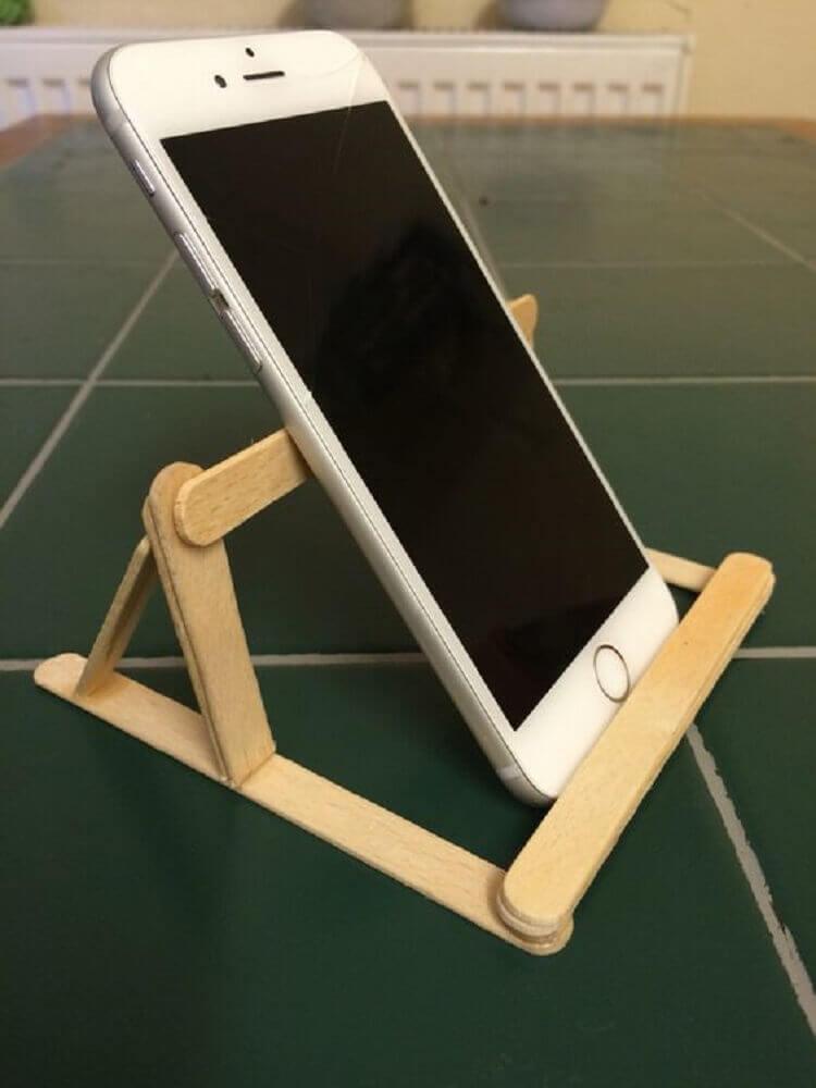 artesanato com palito de picolé - porta celular feito com palitos de sorvete Foto Stratadime