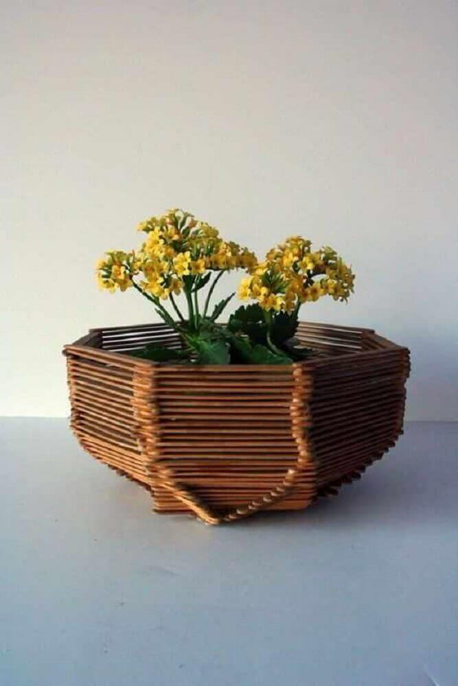 artesanato com palito de picolé - vaso de plantas feito com palitos de picolé  Foto Bedroom Furniture