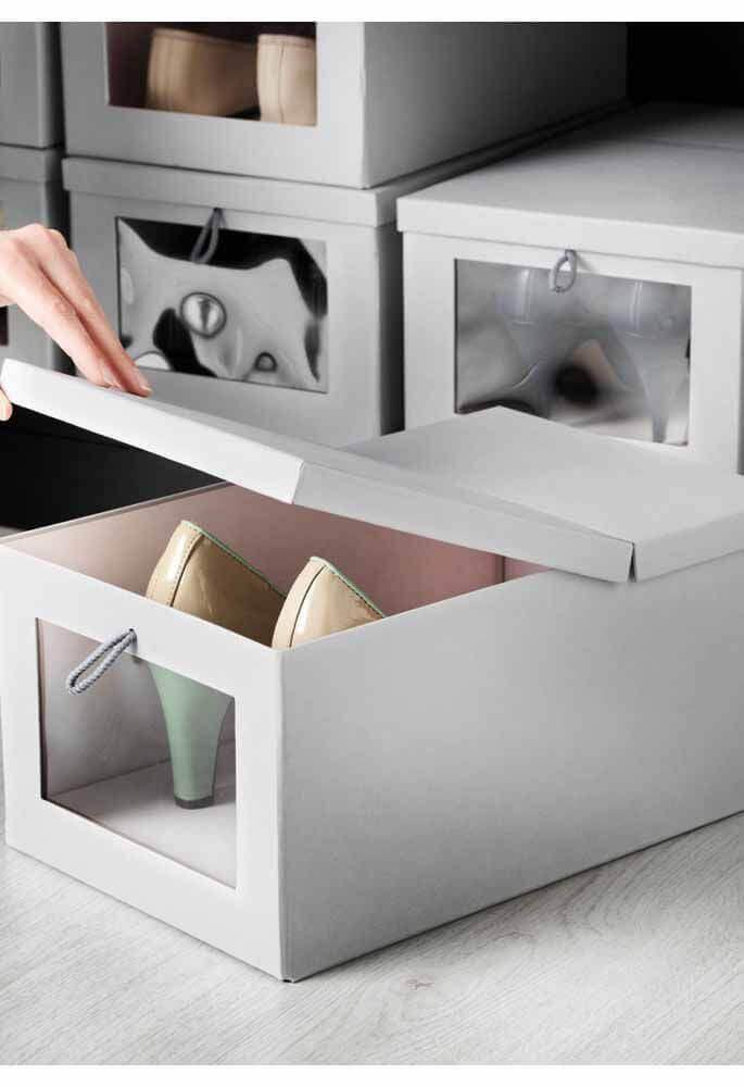 caixa organizadora com tampa para sapatos Foto Wood Save