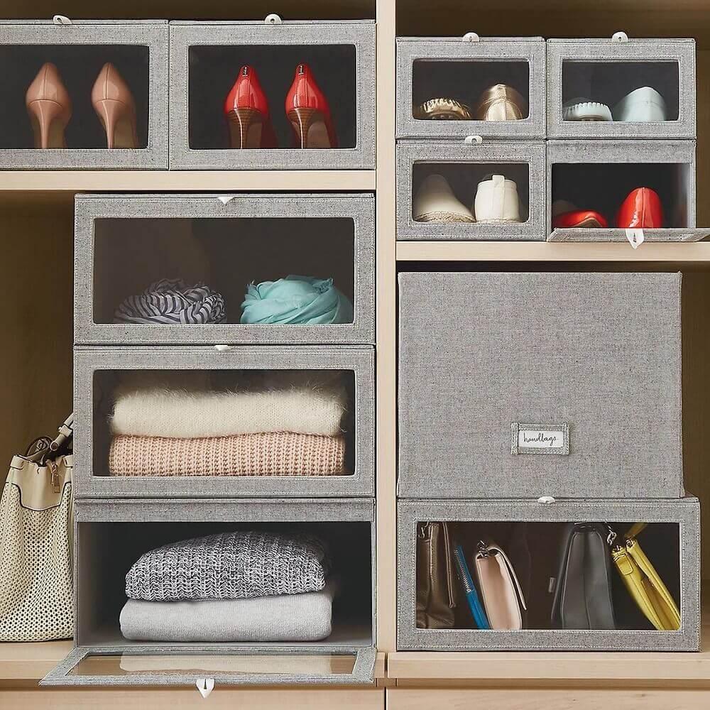 caixa organizadora de lona para closet Foto Daniella Whyte