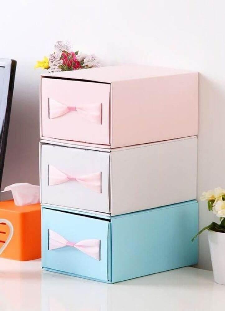 caixa organizadora de papelão Foto Pinterest