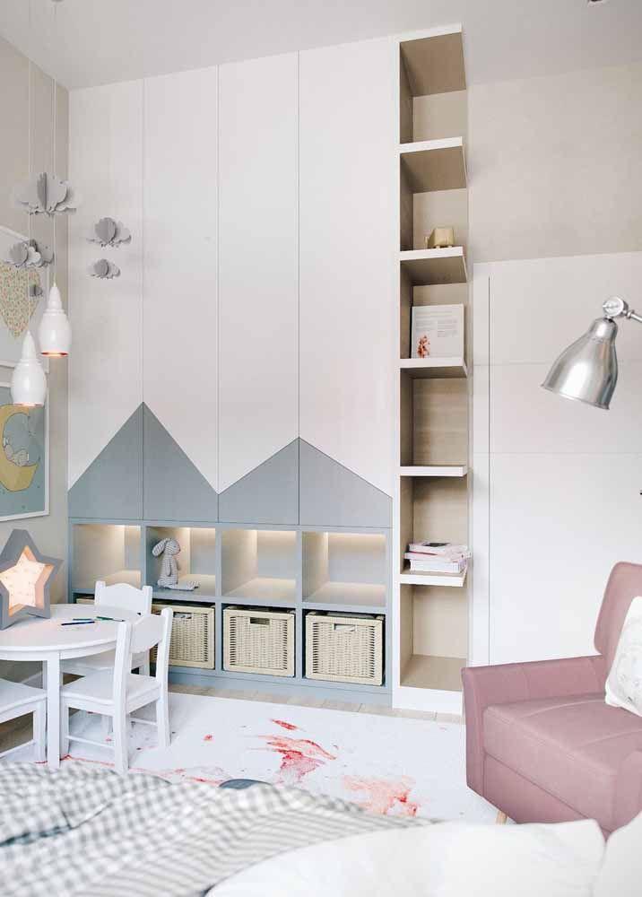 caixa organizadora para decoração de quarto infantil em tons neutros Foto Pinterest