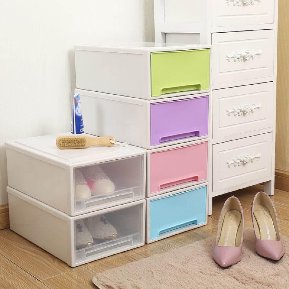 caixa organizadora plastico com tampa colorida para organização de sapatos Foto DHgate