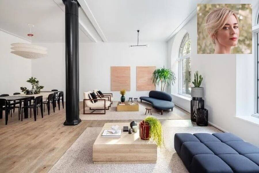 casa Emily Blunt decorada com estilo conceito aberto