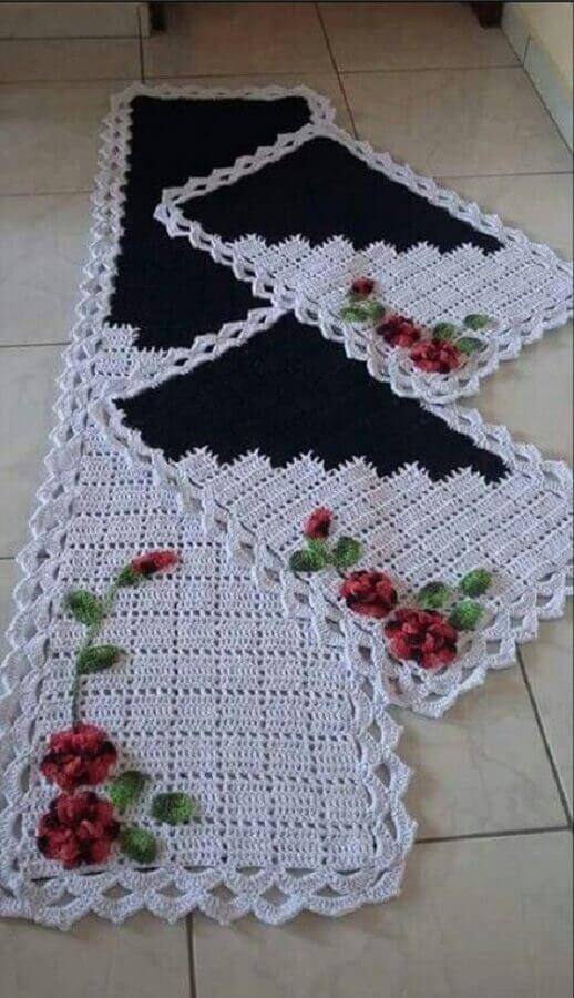 conjunto de tapetes de crochê com flores  Foto Pinterest