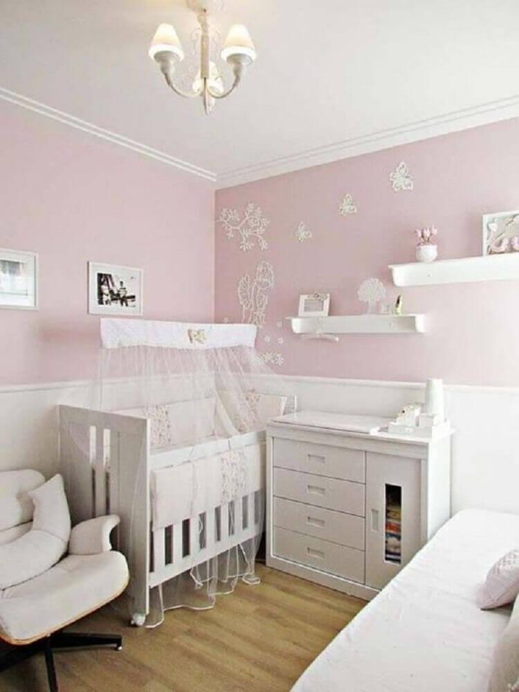 cores para quarto de bebê feminino clássico rosa e branco Foto Webcomunica