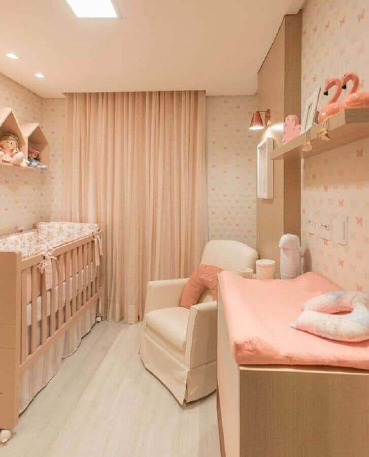 cores para quarto de bebê feminino todo em tons de salmão Foto Zozu