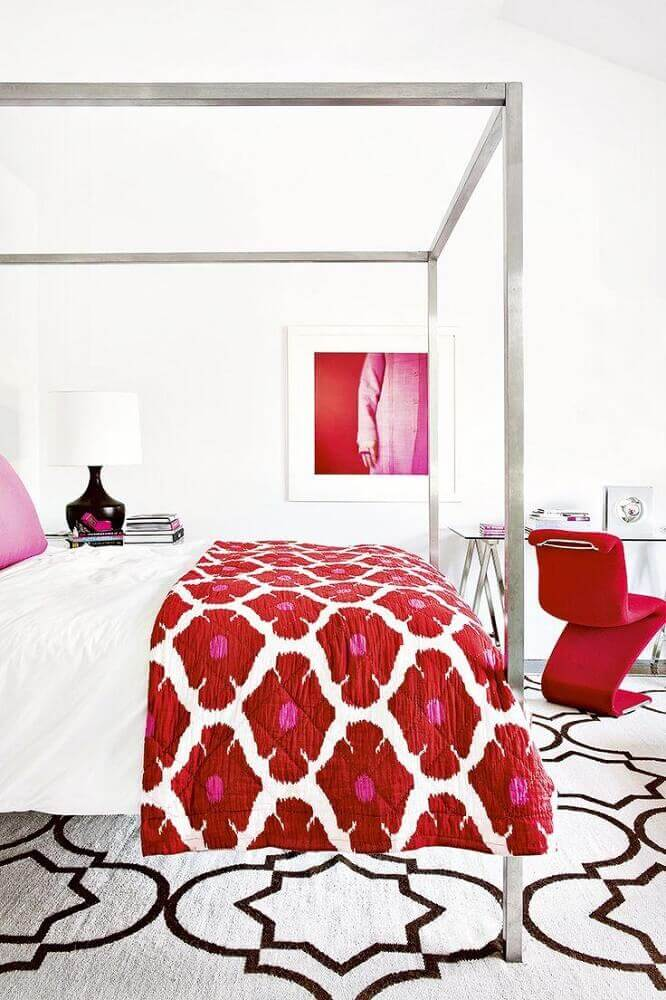 cores para quarto feminino decorado em vermelho e branco Foto Wood Save