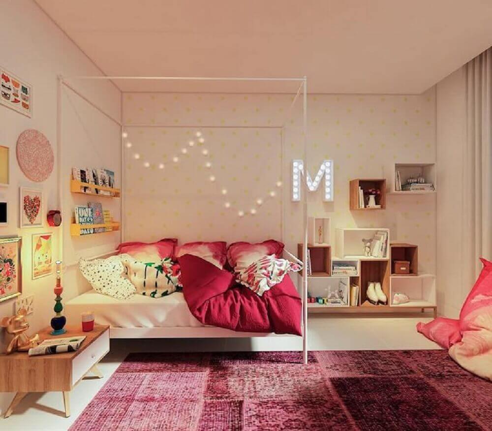 cores para quarto feminino jovem com dossel Foto Manga Rosa Arquitetura