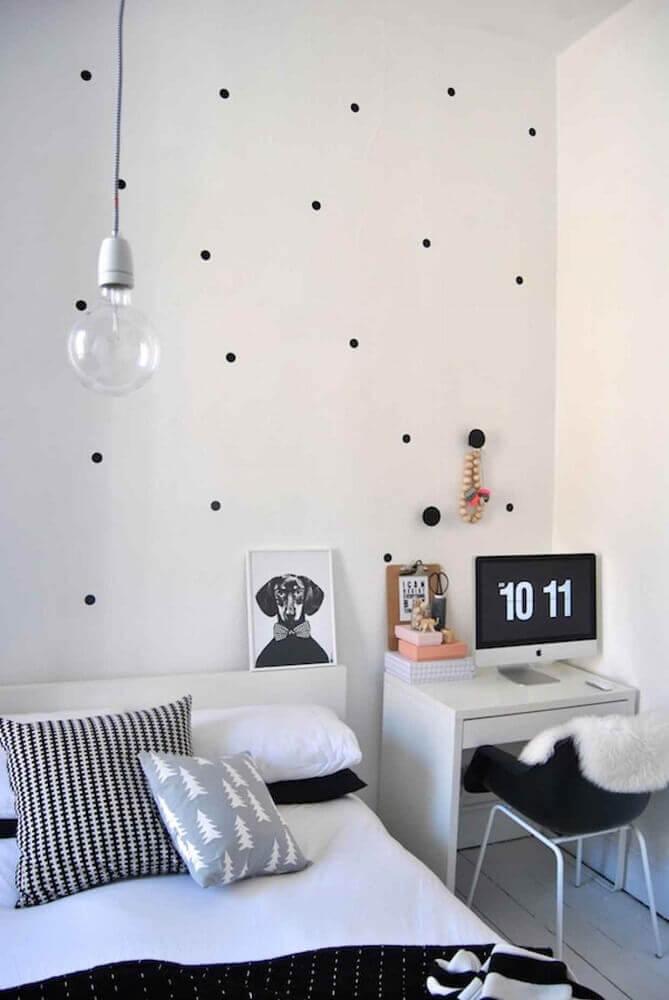 cores para quarto feminino jovem preto e branco Foto Fresh Design Pedia