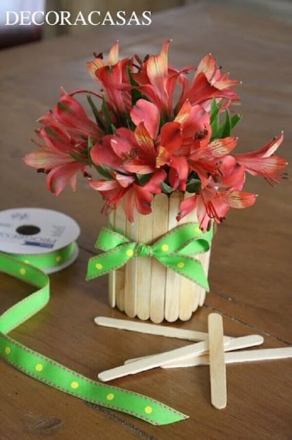 decoração artesanato com palito de picolé Foto Decora Casas