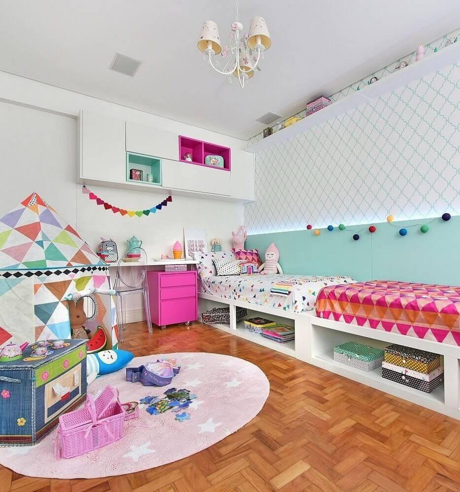decoração colorida para quarto infantil com cores para quarto feminino jovem Foto Casa Perferies