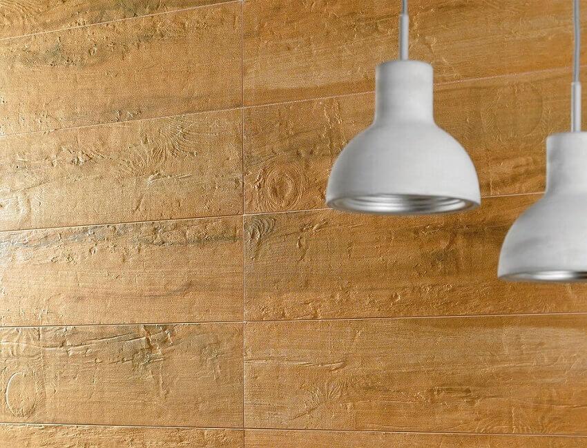 decoração com placas de revestimento 3d imitando madeira e pendentes brancos - coleção Madeira
