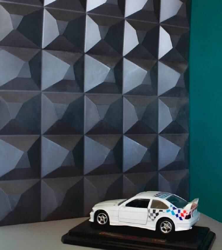 decoração com revestimento 3d adesivo preto para quarto de menino - coleção admirato