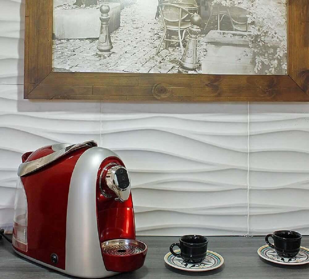 decoração de cozinha com revestimento cimenticio 3D - Foto Admirato